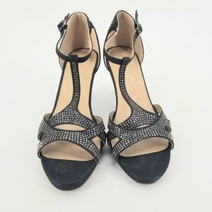 Delicacy Black Studded T-Strap Heels